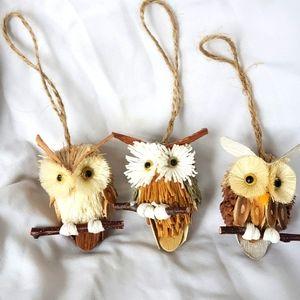 Woodland Owls Ornaments Set
